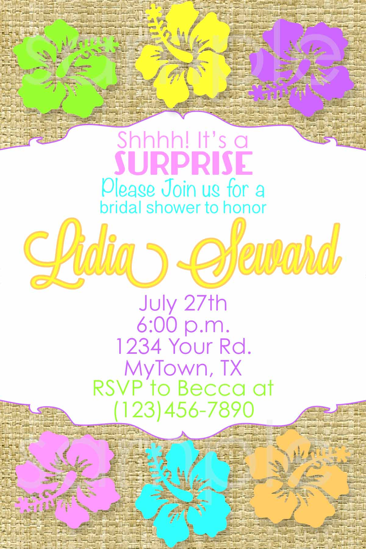 hawaiian bridal shower invitation hawaiian birthday