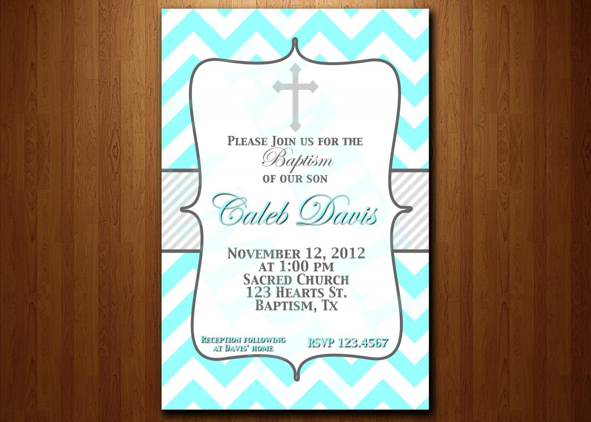Baptism Invitation Turquoise And Blue Grey Christening, Dedication ...