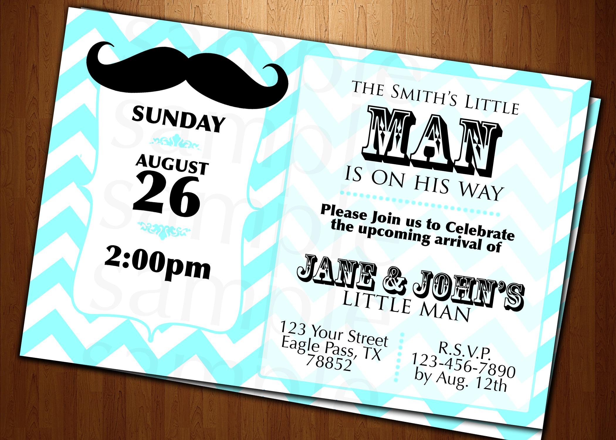 BABY Shower Little Man Mustache INVITATION CARDS CUSTOM INVITES ...